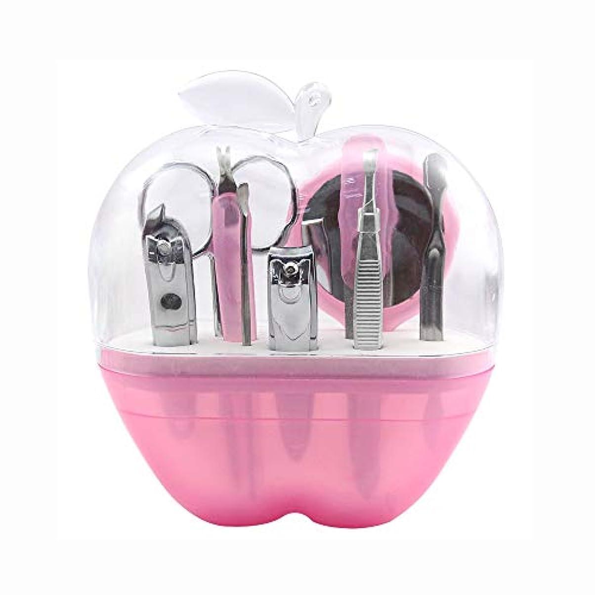 ドライ口述荷物ファッション爪切りセット アップルネイルシザービューティーセット、ピンク、9点セット