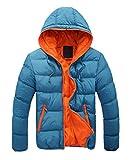 【ビーホワイ】メンズ ダウンジャケット ライトコート 軽量 防寒 厚アップ アウトドア ダウンジャケット (XXL, ブルー031)