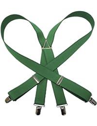 (エクサス)EXAS 無地サスペンダー(通常サイズ 幅3cm 日本製) グリーン