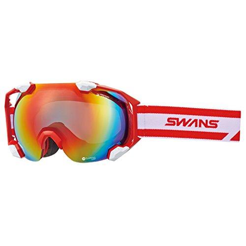 SWANS(スワンズ) ゴーグル スキー スノーボード ミラーレンズ プレミアムアンチフォグ搭載 シーツーエヌ C2N-MDH-SC-PAF R/W レッド×ホワイト/シャドーミラー×グレイレンズ