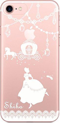 アイフォン7 ケース iPhone7 カバー スワロケース 名入れ キラキラ デコケース ホワイトプリント シンデレラ
