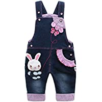 Kidscool Baby & Little Girls Rabbit Casual Soft Denim Overalls Jeans