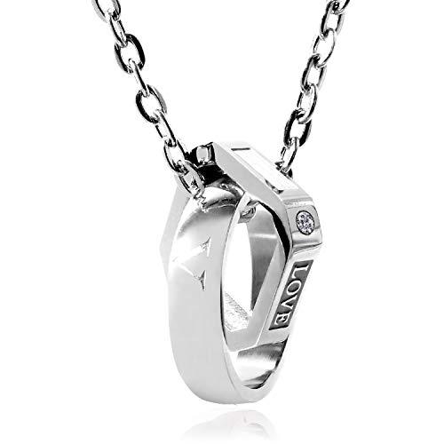 【SIMPS】メンズ ネックレス SILVER キュービックジルコニア CIRCLE&SQUARE コンビネーションネックレス サージカルステンレス チェーン 専用化粧箱 クリーニングクロス付 30日間安心保障