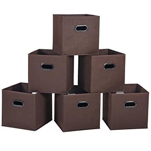 どこでも収納ボックス 6個入 カラーボックス対応 インナーボックス 幅30×奥行30×高さ30cm ブラウン