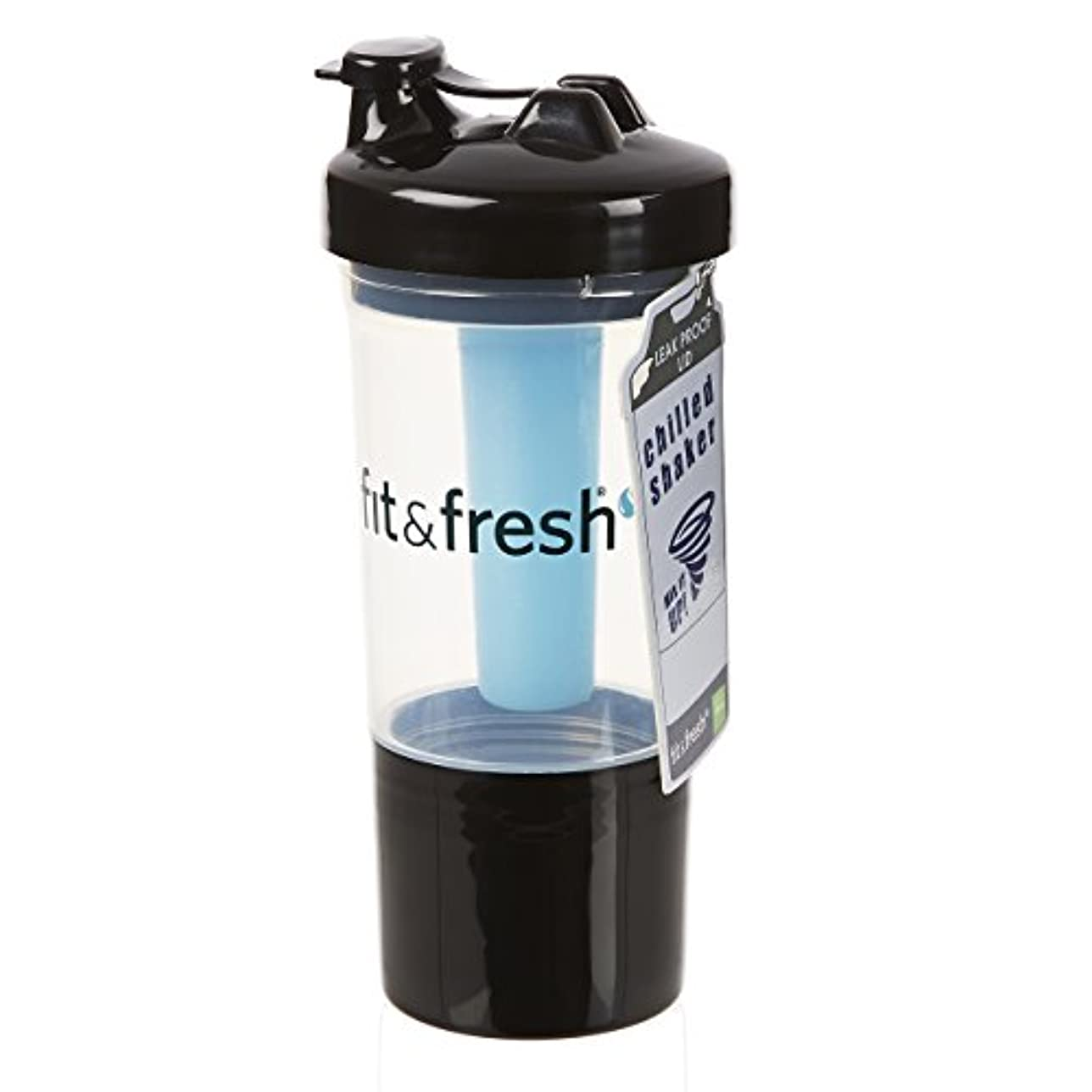 安息中絶軽減Fit & Fresh, CleanTek, Shaker Cup with Ice Wand Agitator & Storage Cup, 1 Cup