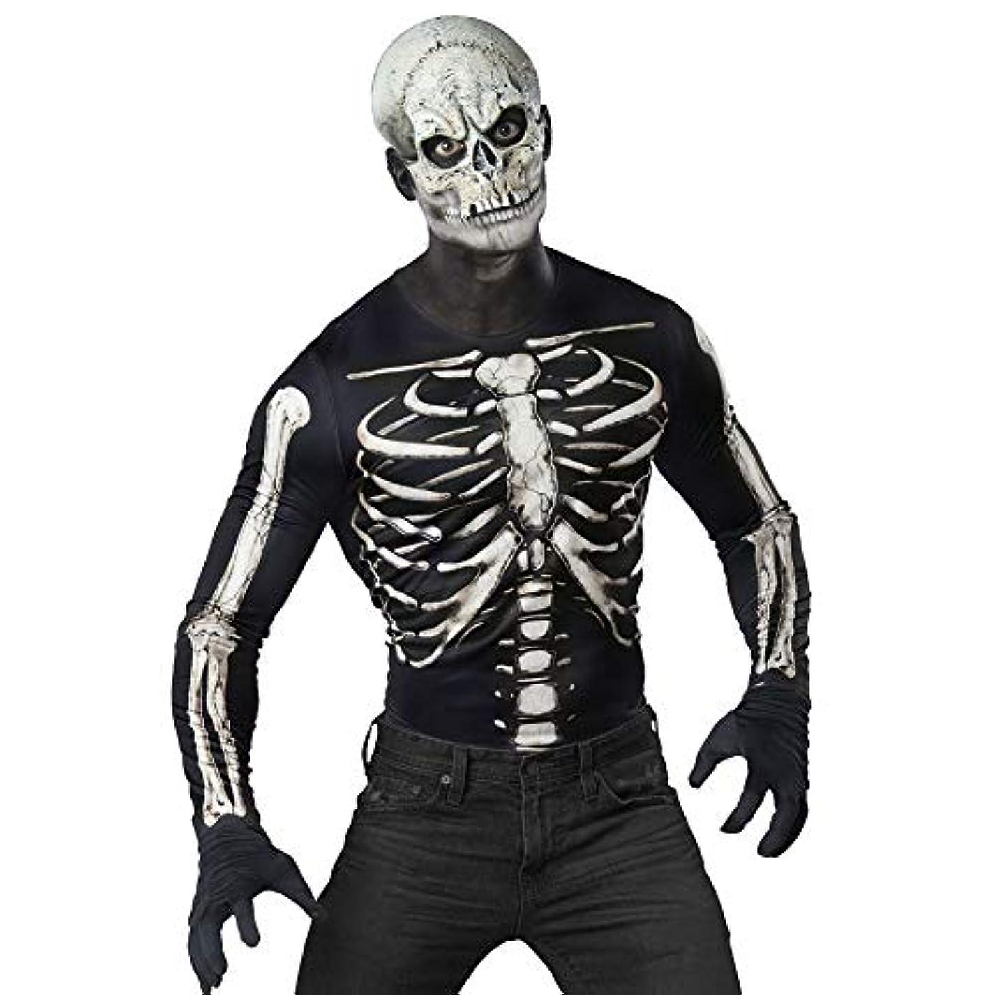 毎月する必要がある言い訳InCharacter Costumes ガイコツマスク&スカルグラフィックシャツ 簡単仮装セット メンズ S/M サイズ 12025