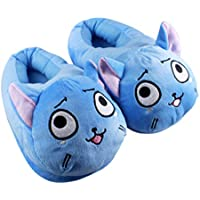 EASTVAPS Anime Cartoon Fairy Tail Happy Plush Slippers Home Winter House Shoes Unisex Blue