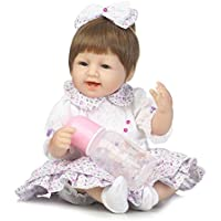 scdoll Rebornベビー人形、16インチ40 cm Lifelike Vinylシリコン新生児幼児人形でキュートなドレスブルーEyes Play House Toy for Age 3 +