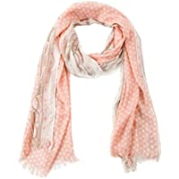 BYLUNTA Women's Lightweight Spring Fall Fashion Scarf (70.821.6 White dot/ Coral)