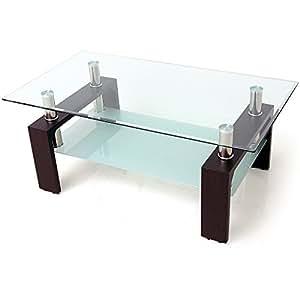リビングテーブル ガラステーブル 横幅110cm 強化ガラス天板 ブラックウォルナット脚