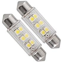 SODIAL(R) 2 Xホワイトドーム6 SMD LEDカーインテリア電球ライト39ミリメートル