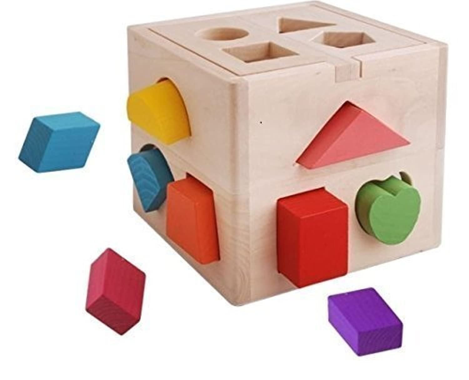 13 Hole Intelligence Cube for Shape Sorter Cognitive and Matching Wooden Blocks Toys for Baby