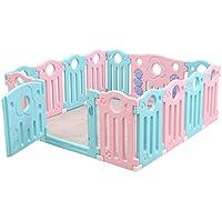 Playpens - 赤ちゃんの幼児のゲームのフェンスの家の幼児の室内の安全クロールマット赤ちゃんのおもちゃプラスチック保護フェンス (Color : Pink, Size : 259 * 186 * 65cm)