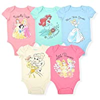 Disney Princess Girl's 5-Piece Short Sleeve Baby Bodysuit Onesie Multi-Colored Set