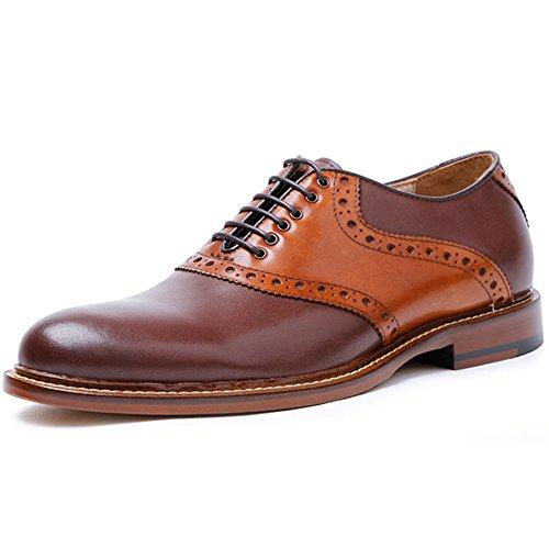 (デザート)Dessert ビジネスシューズ 紳士靴 メンズ 内羽根 サドルシューズ 革靴 本革 ブラウン 25CM