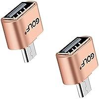 Joyshare Micro USB OTGケーブル (ホスト機能)対応 USBホスト 変換アダプター (MicroBオス-Aメス) (ゴールド - 2セット)