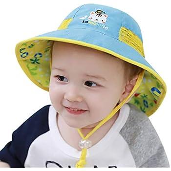 2760b2409b231 DORRISO 子供ハット つば広 赤ちゃんキャップ サファリハット キッズ 帽子 春夏 子供サンバイザー フィッシャーマンハット女の子 男の子紫外線  UVカット 帽子 ブルーB