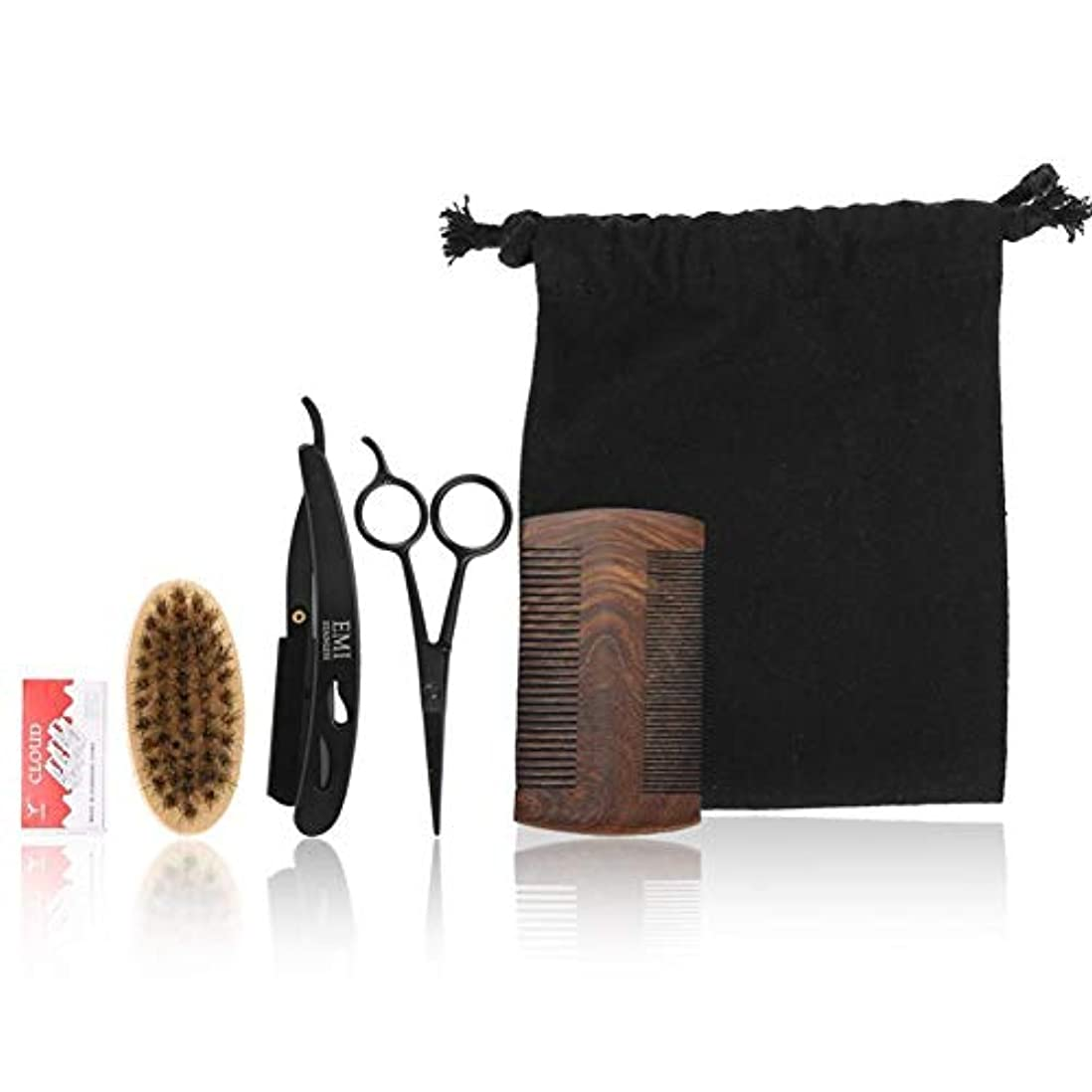 髭のケアブラシセットプロフェッショナルスタイル男性櫛ブラシはさみキットモデリングクリーニング修理バッグフェイシャル髭はさみクリーン