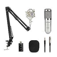 Professional Condenser Microphone Kit BM-800 Mic Set with Adjustable Mic Suspension Scissor Arm Metal Shock Mount for Studio Recording & Brocasting Microphone kit(Sliver -Sound Card) [並行輸入品]