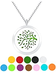 ZARABE Aromatherapy Essential Oil Diffuser necklace-treeロケットペンダント、12 pcカラフルRefill Pads