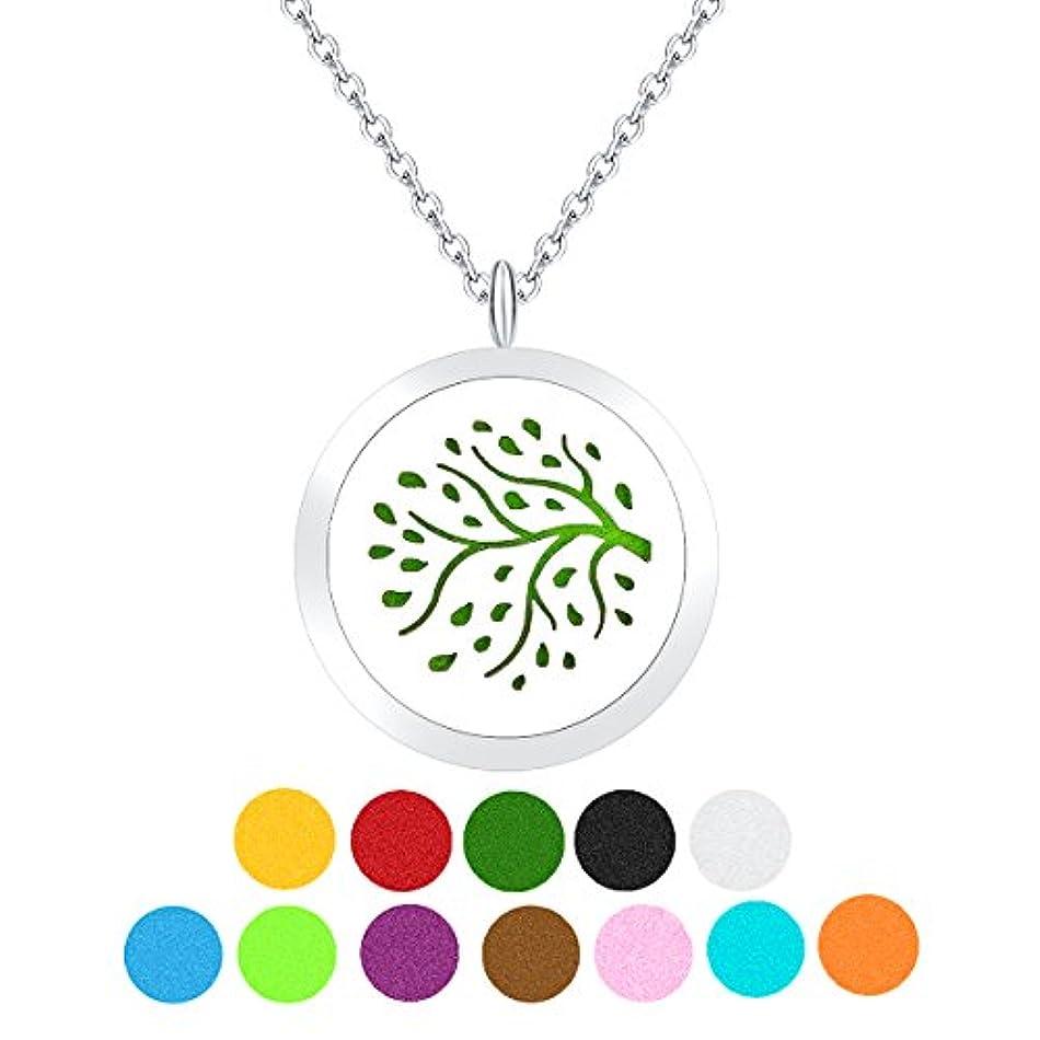 犯す強制的達成するZARABE Aromatherapy Essential Oil Diffuser necklace-treeロケットペンダント、12 pcカラフルRefill Pads