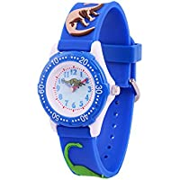 Wolfteeth Analog Grade School Toddler Kids Wrist Watch with Second Hand 3D Dinosaur Strap White Dial Water Resistant Boy Wrist Watch 3059