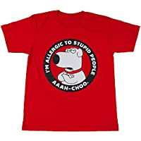 【並行輸入品】Brian Family Guy/Brian Griffin/ブライアン・グリフィン プリントTシャツ ムービーTシャツ キャラクターTシャツ レッド Sサイズ Mサイズ Lサイズ 男女兼用 ~Lサイズは短めワンピースにも人気~