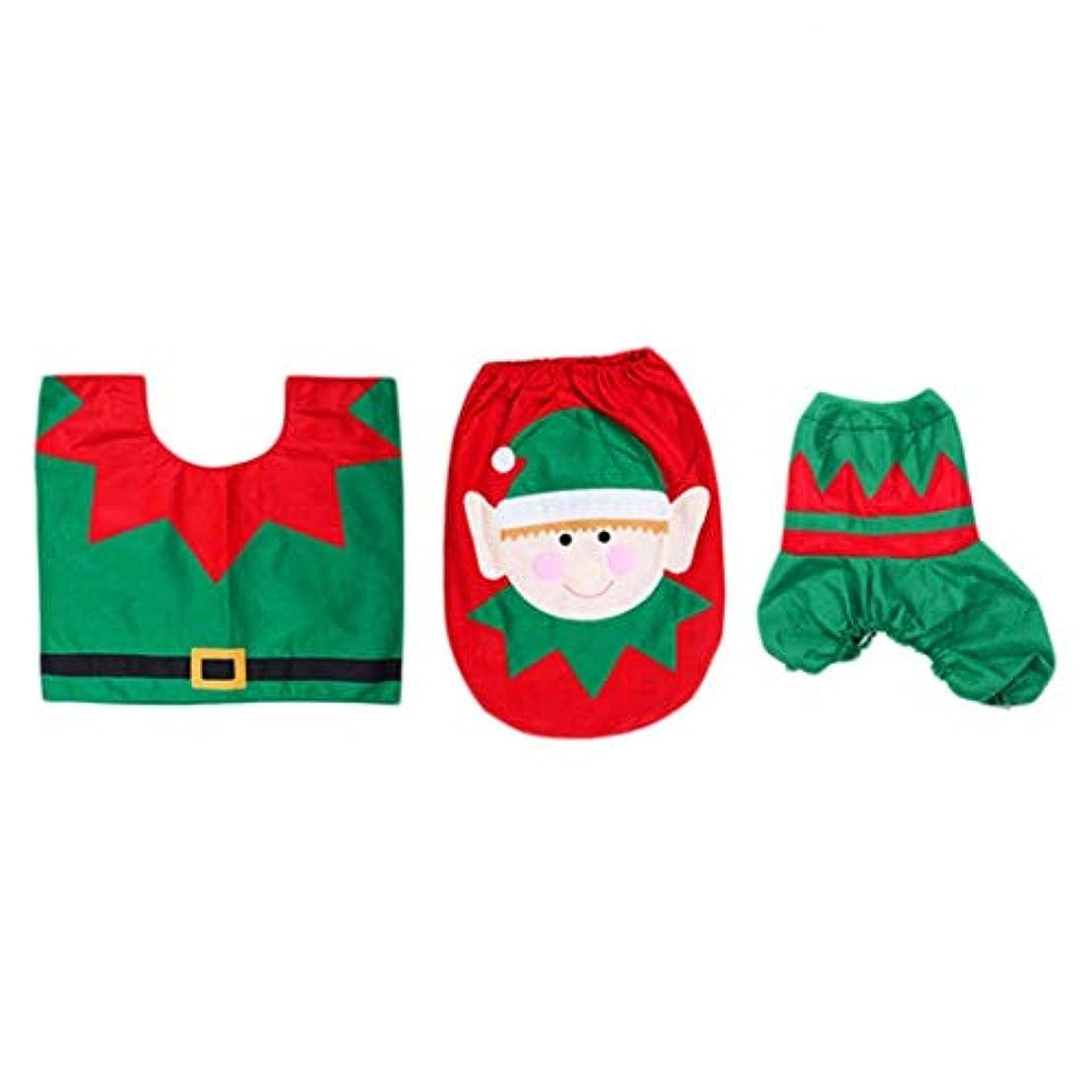 焦げ用量槍Swiftgood 浴室のための3部分のクリスマスの装飾のスノーマン様式の便座カバー