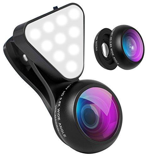 YIEASY スマホ用カメラレンズ 3点セット( LEDライト 0.6X広角レンズ 15Xマクロレンズ) フラッシュ 3段階の明るさ クリップ式レンズ 自撮りレンズ ワイドレンズ マクロレンズ