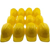 Adorox 24pcs Yellow Construction Soft Plastic Child Hat Helmet Costume Birthday Party Favor Kids Hard Cap Halloween Toy (24 Yellow Hats)