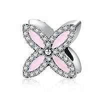 MMC Silver Romantic Lilac Flower Beauty Charm Beads Bracelets