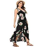 Milumia Plus Size Fit Flare Empire Waist Floral Printed Sleeveless Dress V Neck Sundress