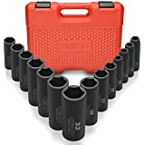 "Neiko 02475A 1/2"" Drive Deep Impact Socket Set Cr-V Steel 6-Point | 14-Piece Set | Metric 11-32mm"