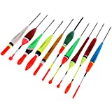 Perfeclan 10pcs Balsa Wood Fishing Floats and Bobbers Set, Mix Style Vertical Buoy Fishing Floats for Crappie Pan Fish Bass
