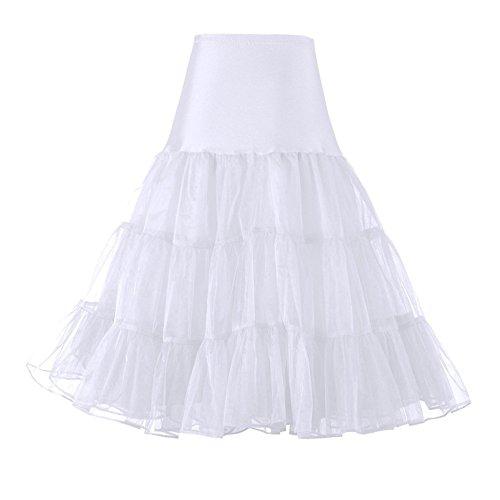 GloryStar パニエ ボリューム パニエロング スカート チュチュスカート チュニック ふんわりパニエ 3段ふわふわパニエ フリルいっぱい カラースカート ショート フリル 3サイズ (XL, ホワイト)