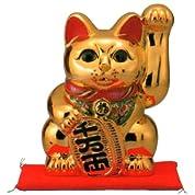 常滑焼 招き猫 美園 黄金手長小判猫(左手) 金 座ぶとん付 13号 高さ:40cm  21ねこ18