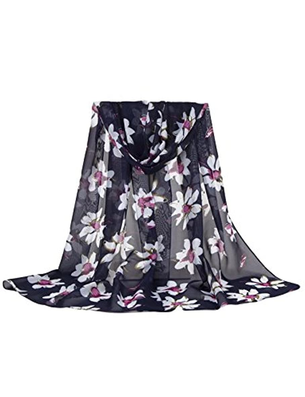 のれんポーズ餌ドレスヌー レディース シフォン ファッション 花柄 日焼け止め UVカット ロング スカーフ