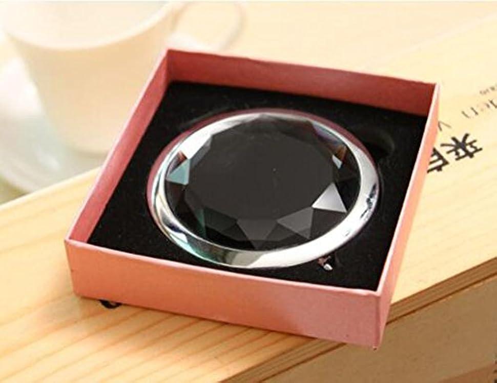 マージ山サイレントHJ 両面 コンパクトミラー 折りたたみ 手鏡 拡大鏡付きメタル デコラティブ 携帯ミラー ハンドミラー (黒)