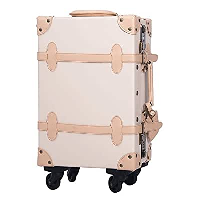 [OSJ]トランクケース スーツケース TSAロック 四輪 超軽量 キャリーケース 【復古主義】 SS型機内持込可 (S, アイボリ(新品タイプ))