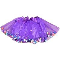 Amosfun Baby Girls Tutu Skirts Kids Elastic Waist Princess Tulle Skirt Pom Pom Mini Skirts for Children Birthday Clothing (Purple, Free Size)