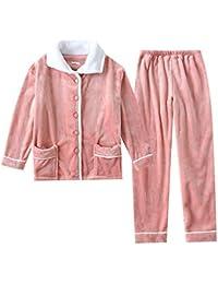 パジャマ 上下セット 前開き 衿付き ポケット付き 長袖 長ズボン フランネル あったか ふんわり 厚手 冬用 ルームウェア 部屋着