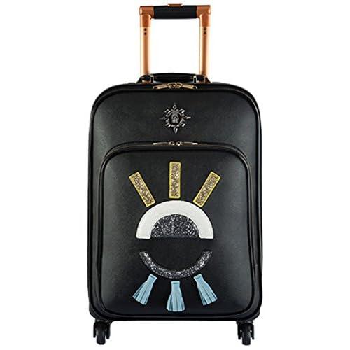 Femoooboro PUレザーキャスターブラックキャリーケース、スーツケース - L