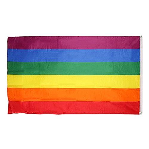 【ノーブランド 品】旗 レインボー ゲイ レズビアン プライド 飾り  90*150cm