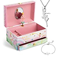 Jewelkeeper Music Box & Little Girls Jewelry Set - 3 Gifts for Girls