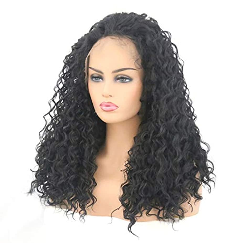 ヘッドレス無枯渇するKerwinner 女性のための黒の小さな巻き毛の長い巻き毛のフロントレース高温シルク