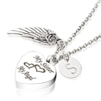CremationアッシュジュエリーMy Sister My Angel Wing Memorialネックレス26初期チャーム記念品Urnペンダント