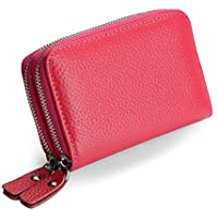 Women's RFID Blocking Wallet Genuine Leather Credit Card Purses Small Short Zipper Coin Holder-by Vodiu
