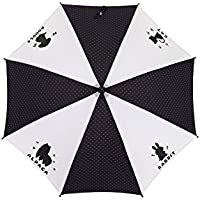 かわいいアニマル柄 駒替 風に強い丈夫なグラスファイバー骨 50cm ジャンプ傘 子供用傘 (黒) 120cmくらいまでのお子様に最適