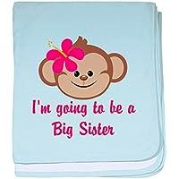 CafePress – Big Sister to beピンクMonkey – スーパーソフトベビー毛布、新生児おくるみ ブルー 079036687525CD2