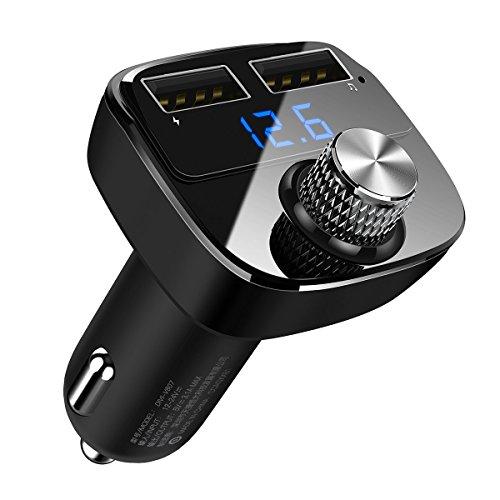 FMトランスミッター Bluetooth 4.2 高音質 ワイヤレス 発信機 無線 レシーバー ノイズ軽減 ハンズフリー通話 カーMP3プレーヤー 2ポートUSB付き 急速充電 USB車載充電器 電圧表示機能搭載 USBメモリー対応 iPhone/Android 12V/24V車対応【DIVI】(ブラック)